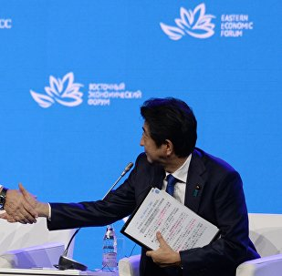 Russian President Vladimir Putin (left) and Japanese Prime Minister Shinzo Abe at the plenary session Discovering the Far East within the framework of the Eastern Economic Forum.