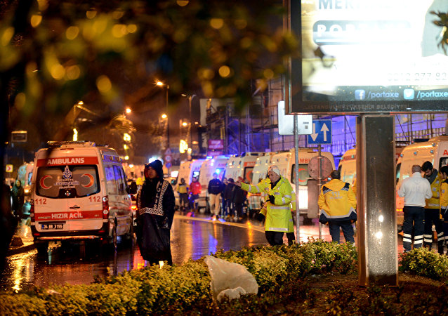 Ambulances line up on a road leading to a nightclub where a gun attack took place during a New Year party in Istanbul, Turkey, January 1, 2017.