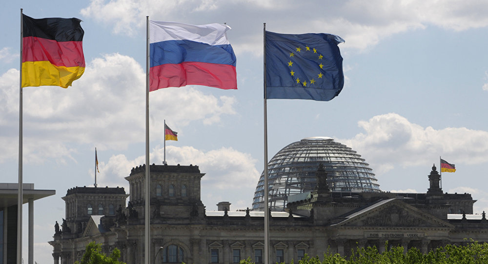 Flags of Germany, Russia and the EU. (File)