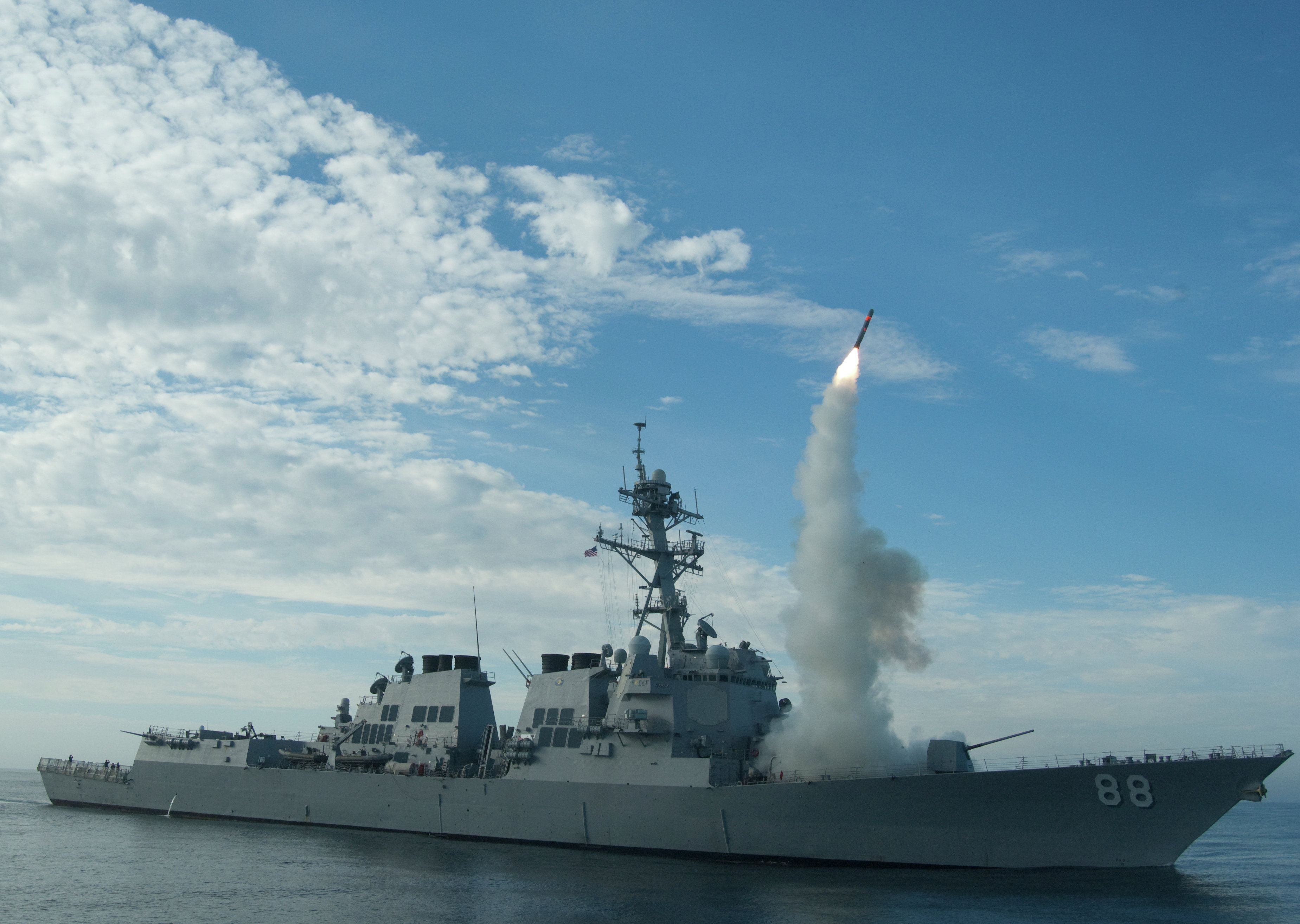 Sailors aboard the guided-missile destroyer USS Preble (DDG 88) conduct an operational Tomahawk missile launch