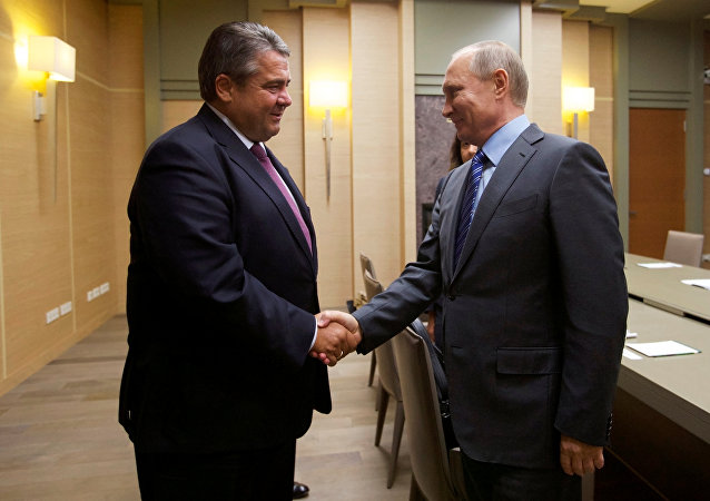 Russian President Vladimir Putin (R) and German Vice Chancellor and Economy Minister Sigmar Gabriel shake hands during their meeting at the Novo-Ogaryovo state residence outside Moscow, Russia September 21, 2016