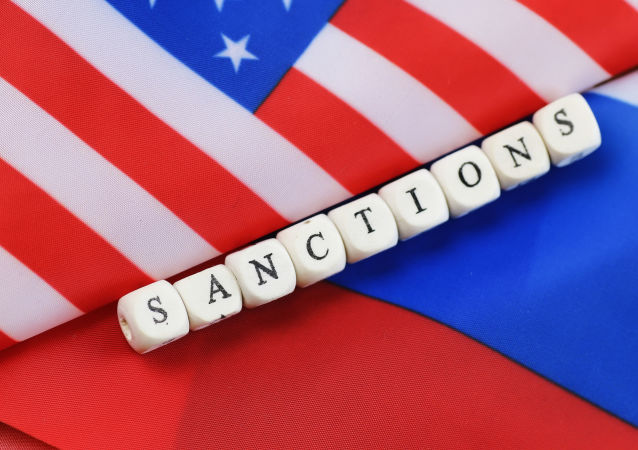 Russian usa flag sanctions wooden letters on them.