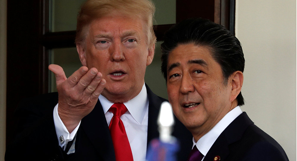 U.S. President Donald Trump welcomes Japanese Prime Minister Shinzo Abe at the White House in Washington, U.S., June 7, 2018