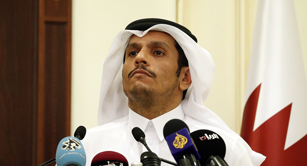Sheikh Mohammed bin Abdulrahman Al Thani listens to a reporter's question during a media availability with Secretary of State Rex Tillerson, after their meeting, Sunday, Oct. 22, 2017, in Doha,Qatar
