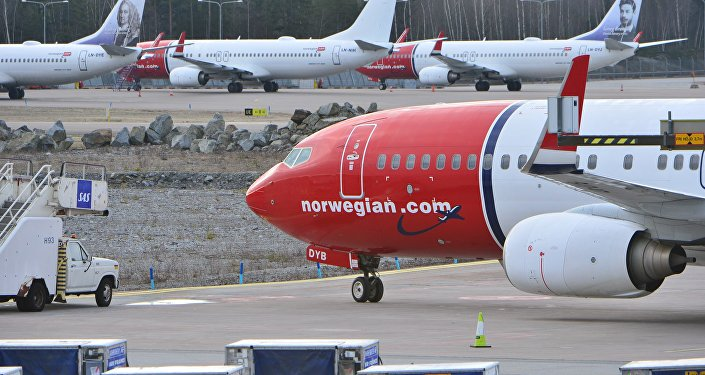 Parked Boeing 737-800 aircrafts belonging to budget carrier Norwegian seen at at Stockholm Arlanda Airport Thursday March 5, 2015