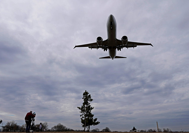 An American Airlines Boeing 737 MAX 8 flight from Los Angeles approaches for landing at Reagan National Airport shortly after an announcement was made by the FAA that the planes were being grounded by the United States in Washington, U.S. March 13, 2019