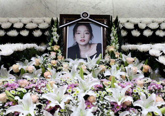 A memorial altar of K-pop star Goo Hara is seen at the Seoul St. Mary's Hospital in Seoul, South Korea November 25, 2019