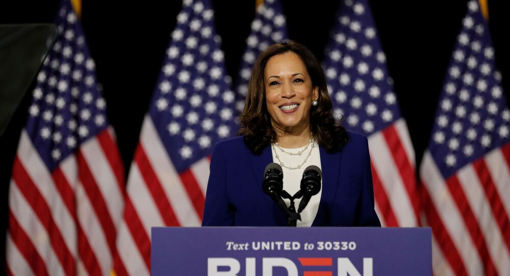Democratic vice presidential candidate Senator Kamala Harris speaks at a campaign event, on her first joint appearance with presidential candidate and former Vice President Joe Biden after being named by Biden as his running mate, at Alexis Dupont High School in Wilmington, Delaware, U.S., August 12, 2020.