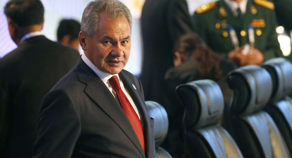 Russian Defense Minister Gen. Sergei Shoigu prepares to take his seat for the two-day ASEAN Defense Ministers' Meeting and its Dialogue Partners Tuesday, Oct. 24, 2017 at Clark, Pampanga province, north of Manila, Philippine