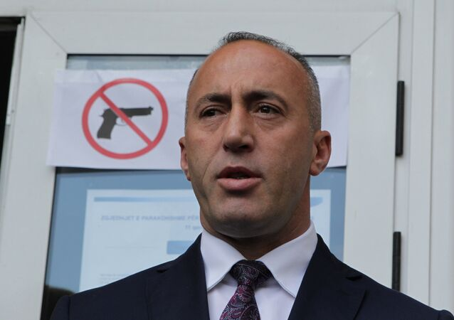 Ramush Haradinaj, candidate for Prime Minister, of the coalition of the former Kosovo Liberation Army (KLA) commanders AAK, PDK and NISMA speaks before the press during the Parliamentary elections in Pristina, Kosovo June 11, 2017.
