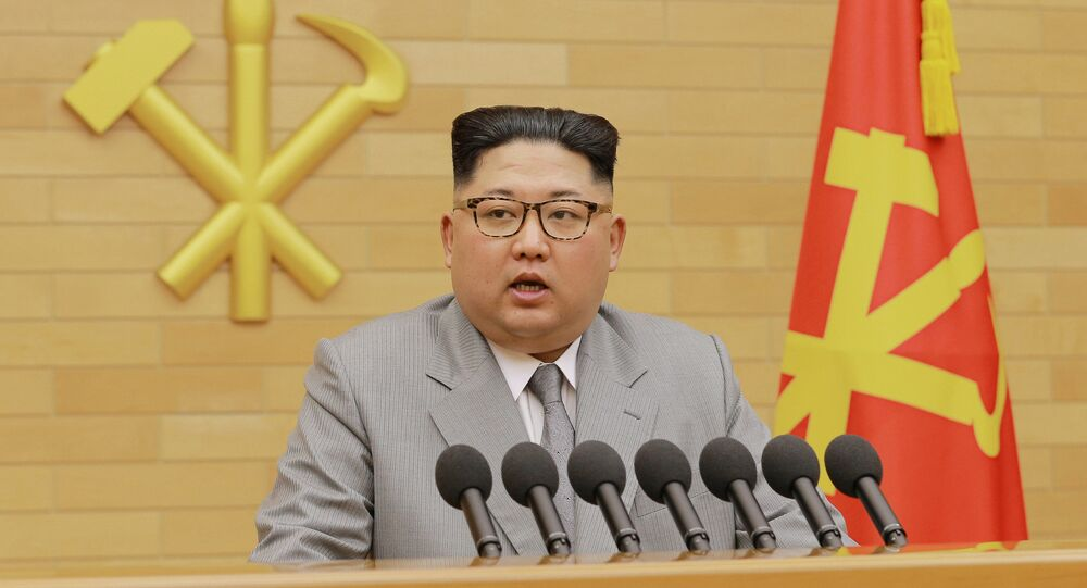 North Korea's leader Kim Jong Un speaks during a New Year's Day speech in Pyongyang on January 1, 2018