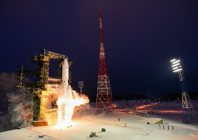 Russia's heavy-lift Angara-A5 rocket before its first orbital launch at the Plesetsk Cosmodrome, Arkhangelsk Region