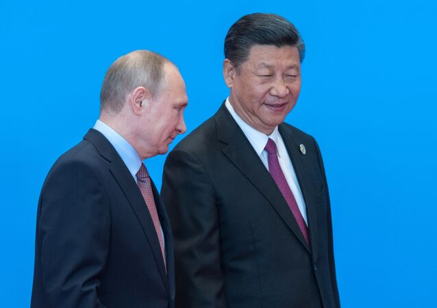 May 15, 2017. Russian President Vladimir Putin and Chinese President Xi Jinping, right, during the welcome ceremony for the heads of the delegations participating in the Belt and Road Forum, at the Yanqi Lake International Convention Center.