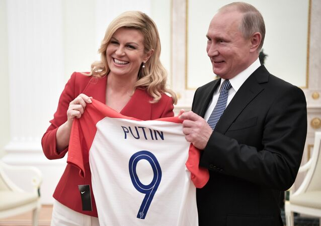 President Vladimir Putin and President of Croatia Kolinda Grabar-Kitarovic during a meeting