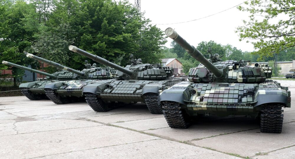 T 72 and T-64 tanks are on display in the Lviv Armor Repair Plant, file photo.