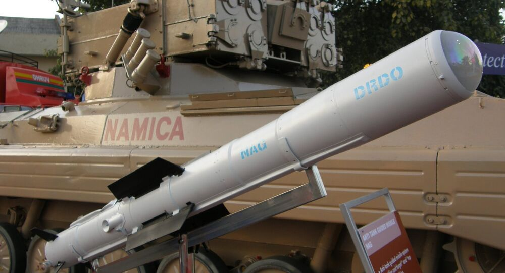 Nag missile and the Nag missile Carrier Vehicle (NAMICA), taken during DEFEXPO-2008, in Pragati Maidan, New Delhi. (File)
