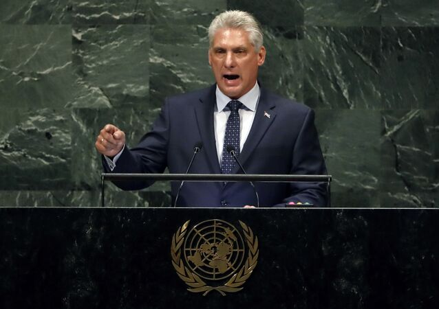 Cuba's President of the Council of Ministers Miguel Díaz-Canel Bermudez addresses the 73rd session of the United Nations General Assembly, at U.N. headquarters, Wednesday, Sept. 26, 2018.