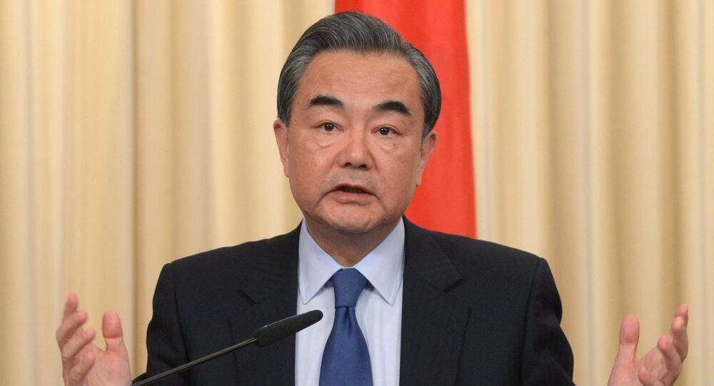 Foreign Minister of the People's Republic of China Wang Yi during a joint press conference with Russian Foreign Minister Sergey Lavrov on the results of their meeting in Moscow