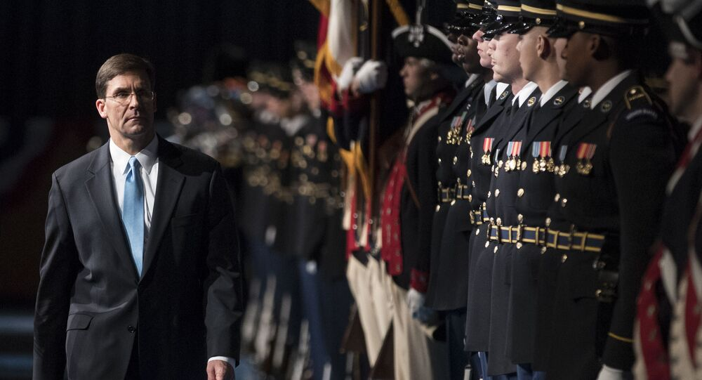 23rd Secretary of the Army, Mark Esper, left, inspects the troop at Conmy Hall, Joint Base Myer-Henderson Hall, Va. Friday, Jan. 5, 2018, during a full honor arrival ceremony in his honor. (AP Photo/Carolyn Kaster)